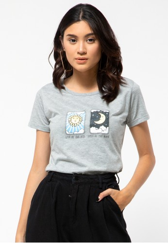 COLORBOX grey Live By Sun, Love By Moon Crew Neck T-Shirt 6B339AAEA4CD25GS_1