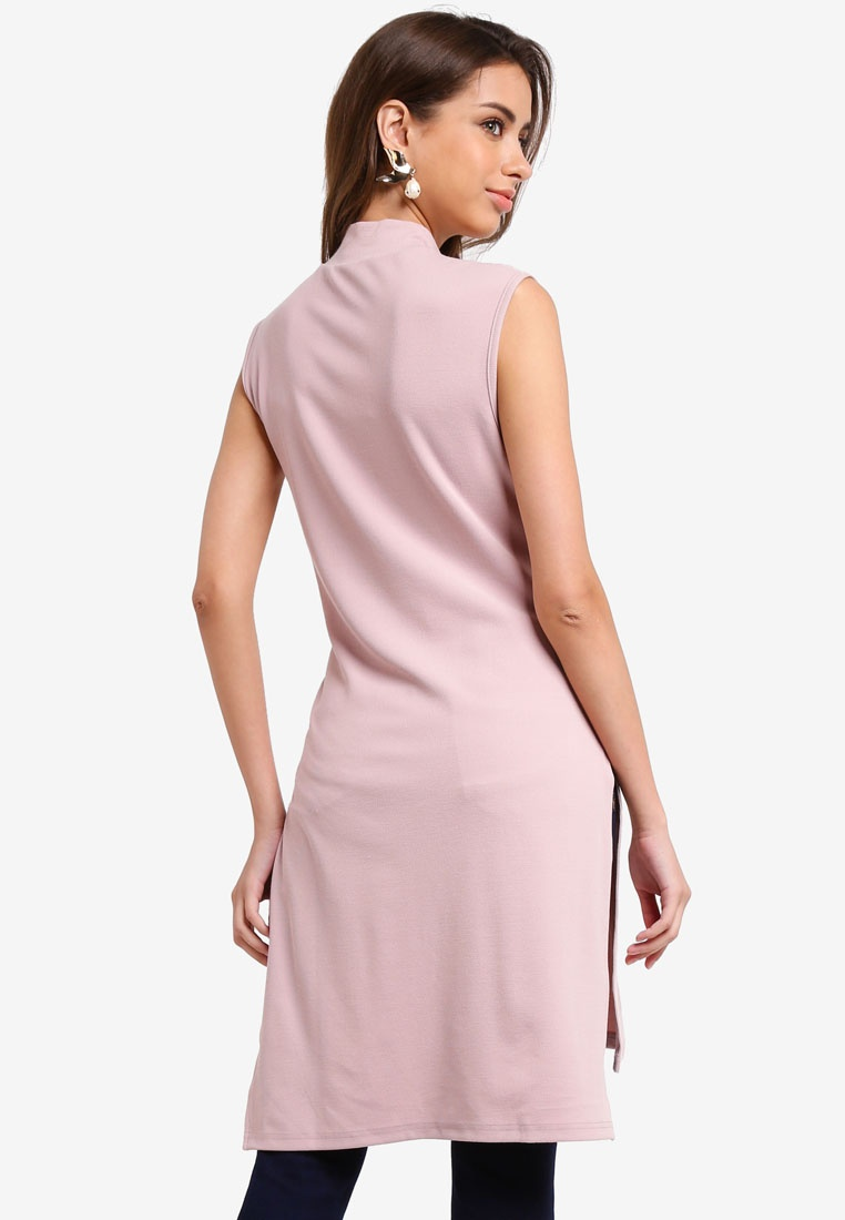 Tunic With Slit Belted KLEEaisons High Pink Sleeveless Soft Neck wHqBKPz