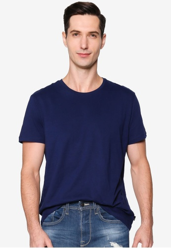 Burton Menswear London blue Indigo Organic Cotton Short Sleeve Crew Tee 6C76BAAECD11B1GS_1