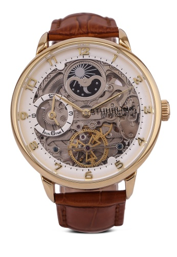 Stuhrling Original gold and brown 3925 Automatic 40mm Skeleton Watch 42ABBAC5B699A8GS_1