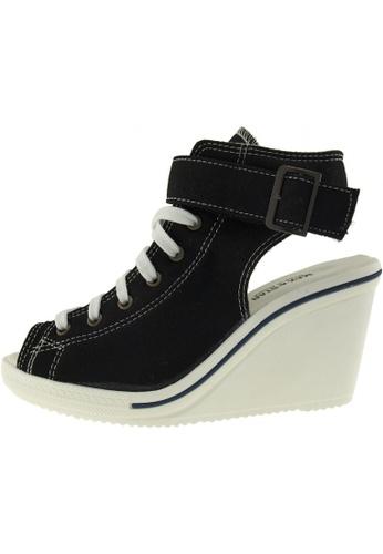 Maxstar 黑色 新款韩国鞋775-Open時尚帆布布混合女黑色 US Women Size MA345SH65HCGTW_1