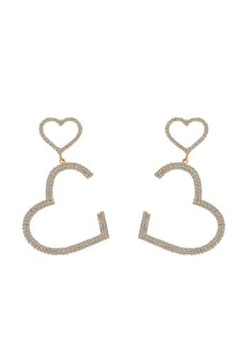 Mellow gold Double Hearts Diamond Earrings FED06AC0D73813GS_1