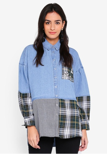 River Island blue Blue Check Diamante Patchwork Denim Shirt 90715AA60A578EGS_1