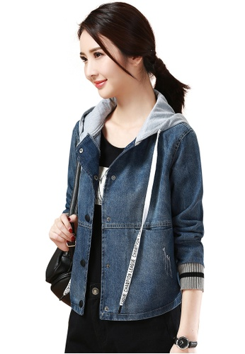 Buy A In Girls Casual Hooded Drawstring Denim Jacket Zalora Hk