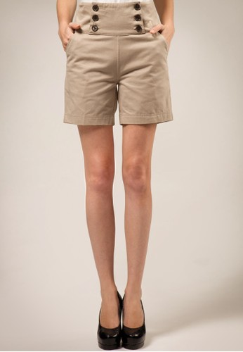 Cyrus C High Waisted Button Shorts