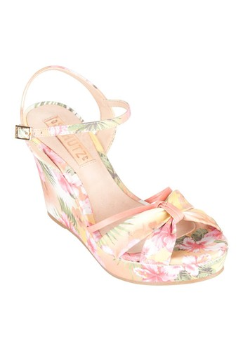 Schutz Floral Printed Wedge Sandals