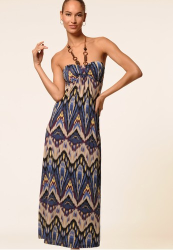 Ikat Printed Halter Maxi Dress