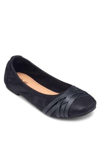 編織方頭平底鞋