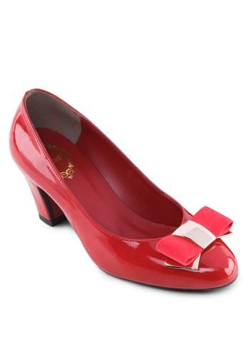 蝴蝶結漆皮粗跟鞋