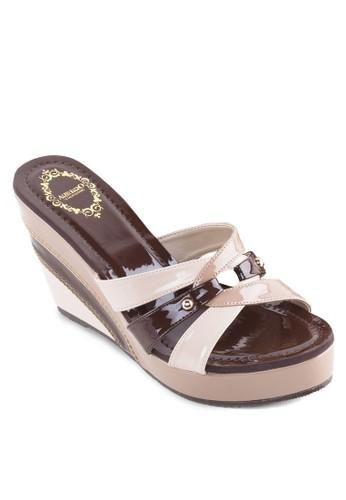 多色楔形涼鞋