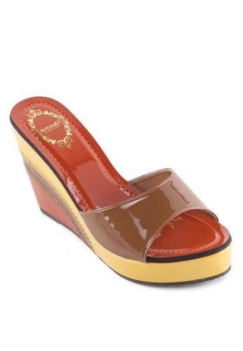 雙色寬帶楔形涼鞋
