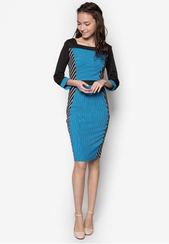 拼色條紋及膝連身裙 - 229602