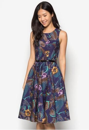 花卉腰帶連身裙 - 253917