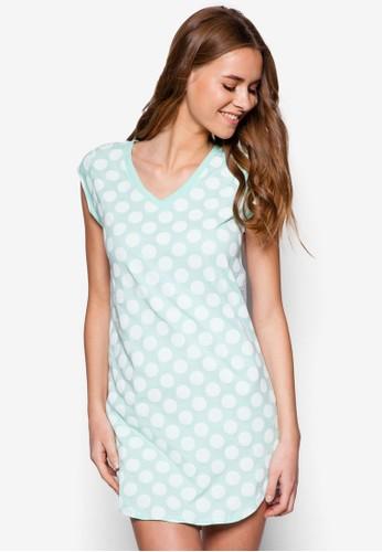V 領條紋拼接連身裙 - 230554