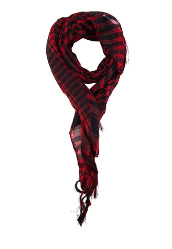 格紋流蘇圍巾