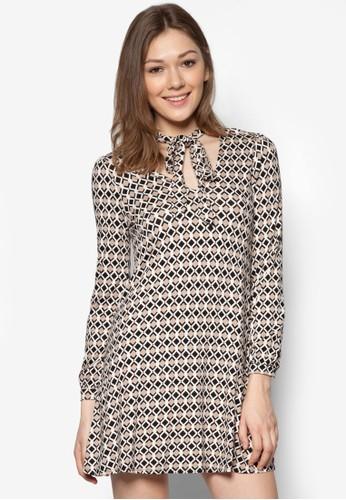 Petite 繫帶領幾何印花連身裙 - 263500