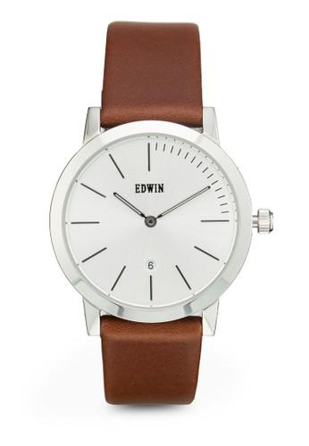 KENNY 雙指針皮革圓錶