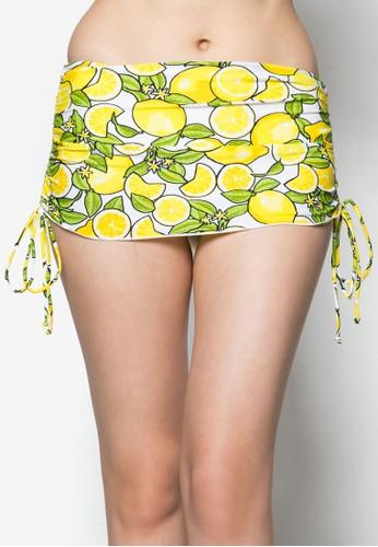 檸檬側繫帶泳裝短裙