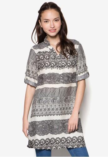蕾絲繡花七分袖襯衫 - 232036