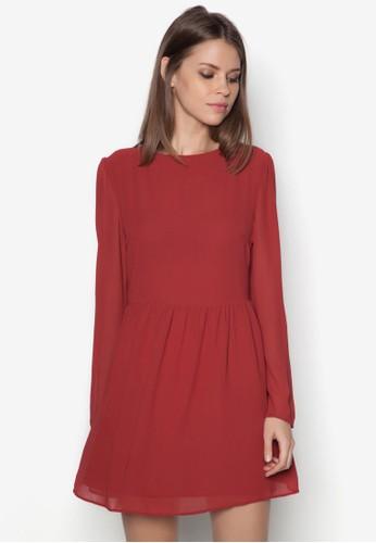 雪紡長袖連身裙 - 224525