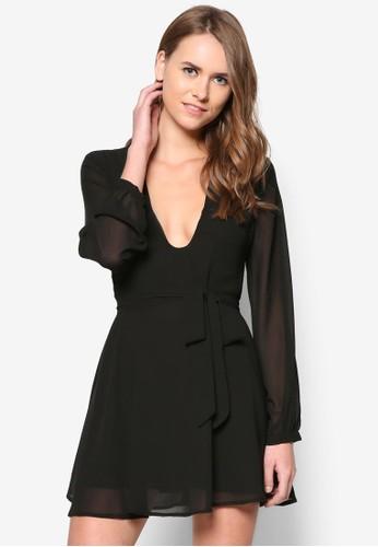 素色低胸繫帶連身裙 - 236182
