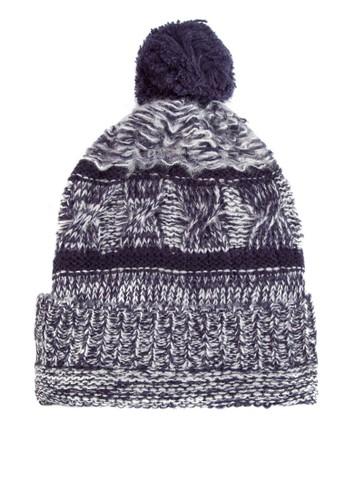 毛球混色針織毛帽