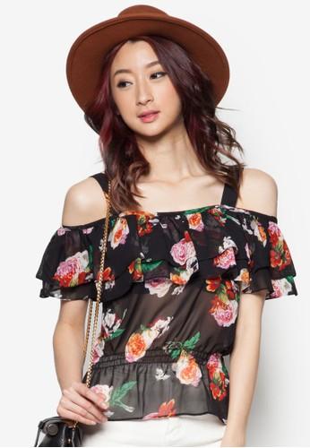 花卉露肩上衣 - 255698