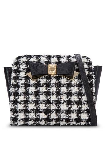 蝴蝶結織線斜紋手提包 - 232899