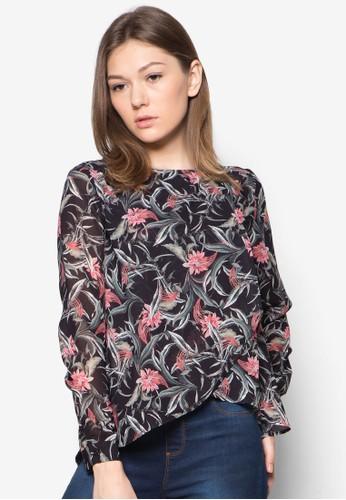 花卉裹飾長袖上衣 - 258701