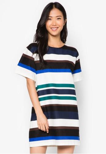色塊條紋洋裝 - 200422
