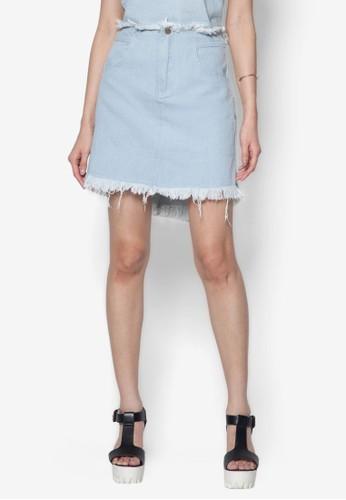 刷鬚水洗丹寧短裙 - 204773