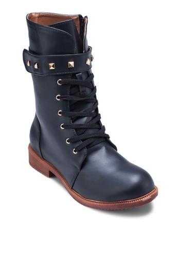 Joy 鉚釘魔術貼繫帶中筒靴