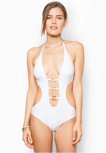 Amanda 繞脖鏤空扣環連身泳裝