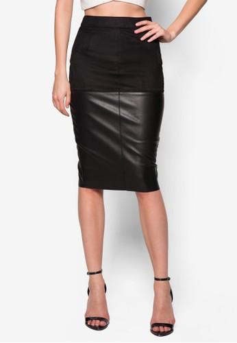 仿麂皮鉛筆裙 - 250325