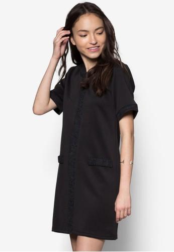 暗紋拼接直筒連身裙