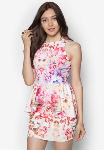 花卉高領腰飾洋裝 - 252314
