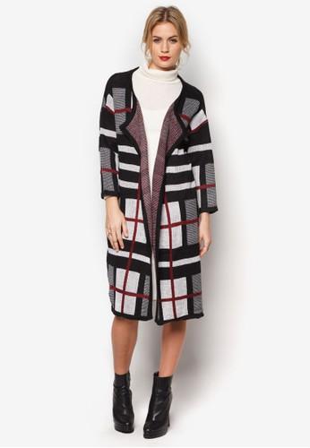 格紋針織長外套