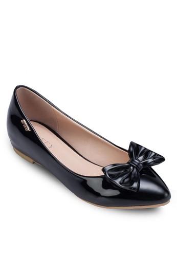 蝴蝶結漆皮平底鞋