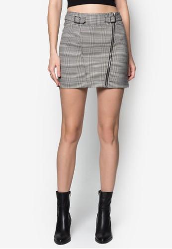 雙扣環格紋A 字短裙