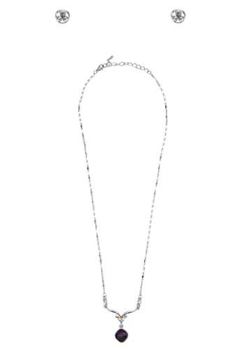 時尚彩晶耳環項鍊套組