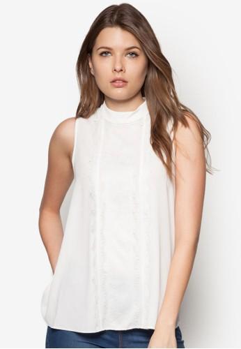 Petite 蕾絲拼接無袖上衣 - 250863