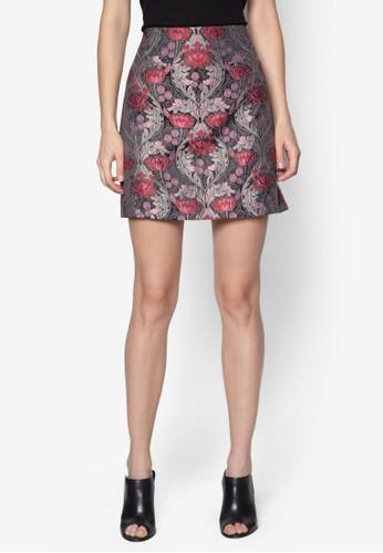 Premium 花卉刺繡短裙