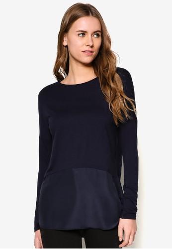 異材質拼接長袖衫 - 259490