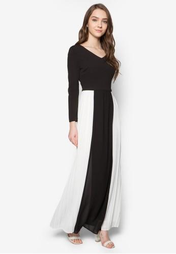 V 領拼色褶飾長洋裝 - 229295