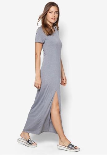 簡約側開衩連身長裙