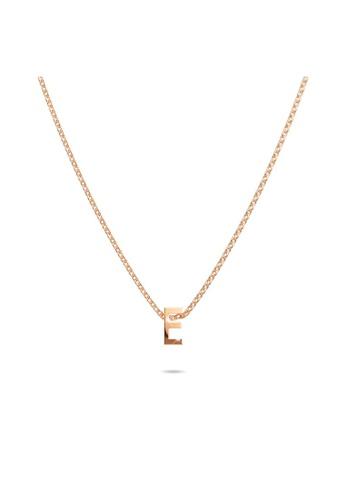Bullion Gold gold BULLION GOLD Initials Brick Alphabet Letter Necklace Rose Gold Layered Steel Jewellery - E C1933AC2986F00GS_1