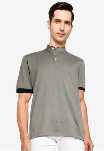 UniqTee grey Textured Cotton Polo Shirt 4D53FAAEC610B3GS_1