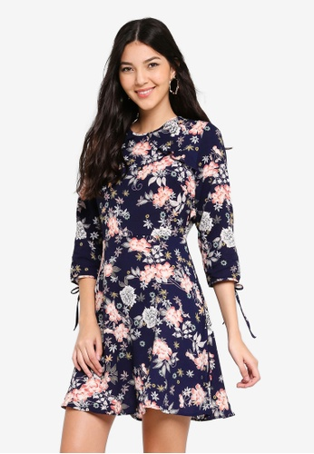 Angeleye navy Navy Floral Fit & Flare Dress E8408AAD093E0CGS_1