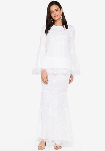 Lubna white Full Lace Flared Sleeve Kurung D0D9CAA29DBF1BGS_1