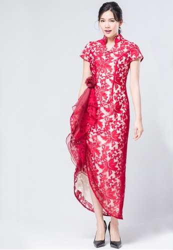 6d52396e0a Buy Evening by Karen Liu Chinese Dress Inspired Embroidery Floral Frill  Dress
